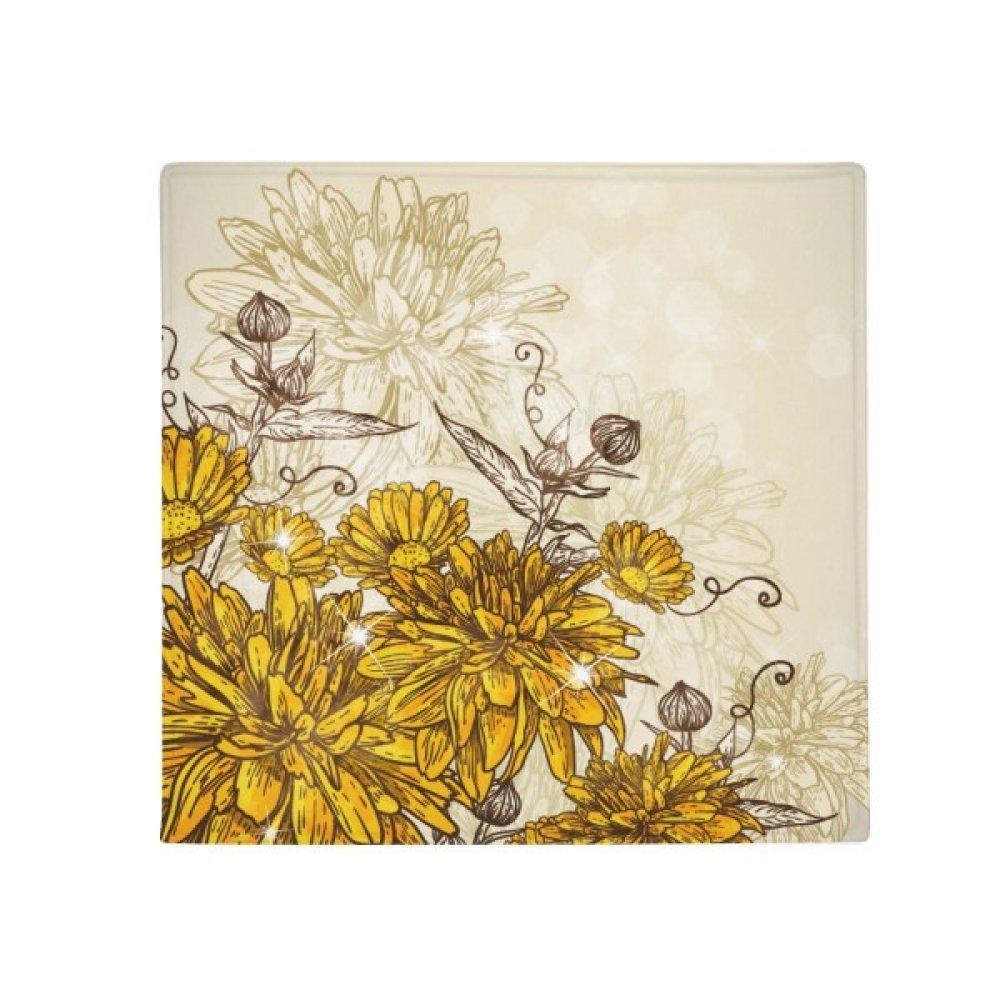 DIYthinker Yellow Chrysanthemum Flower Plant Anti-Slip Floor Pet Mat Square Home Kitchen Door 80Cm Gift