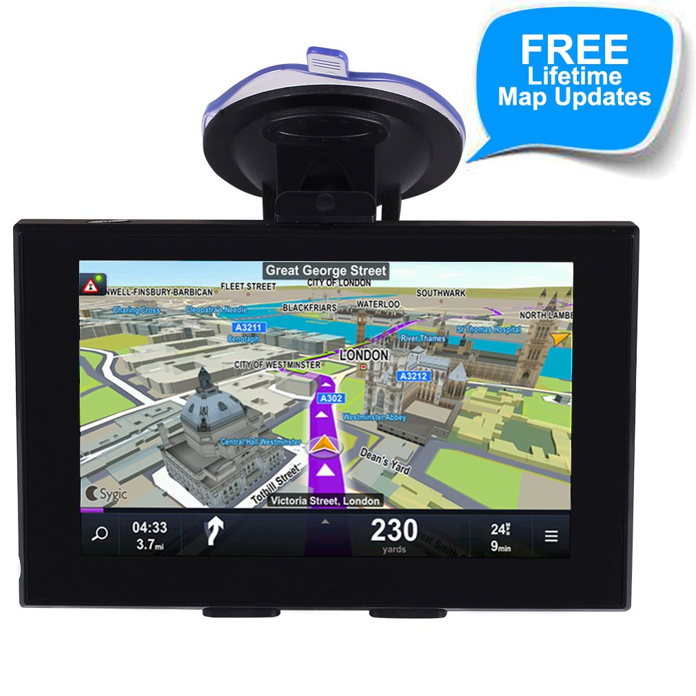 GPS Navigation for Car, 5 Inch Touch Screen Voice Reminding Vehicle GPS Navigator 128MB 8GB System Lifetime Free Map