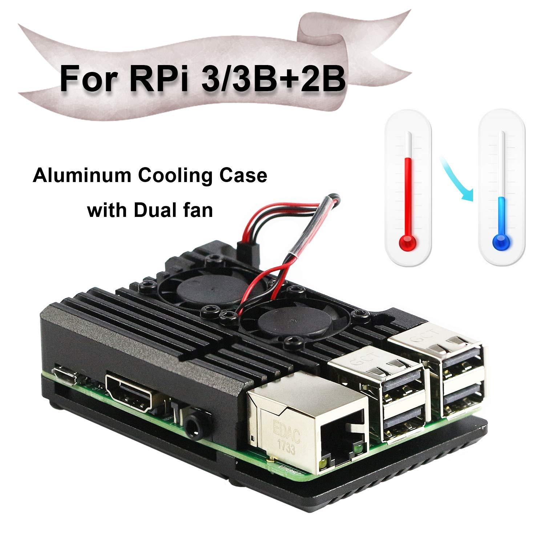 Double Ventilateur Jun/_Electronic pour Raspberry Pi 3 Pi 3 B bo/îtier en Alliage daluminium avec bo/îtier de radiateur