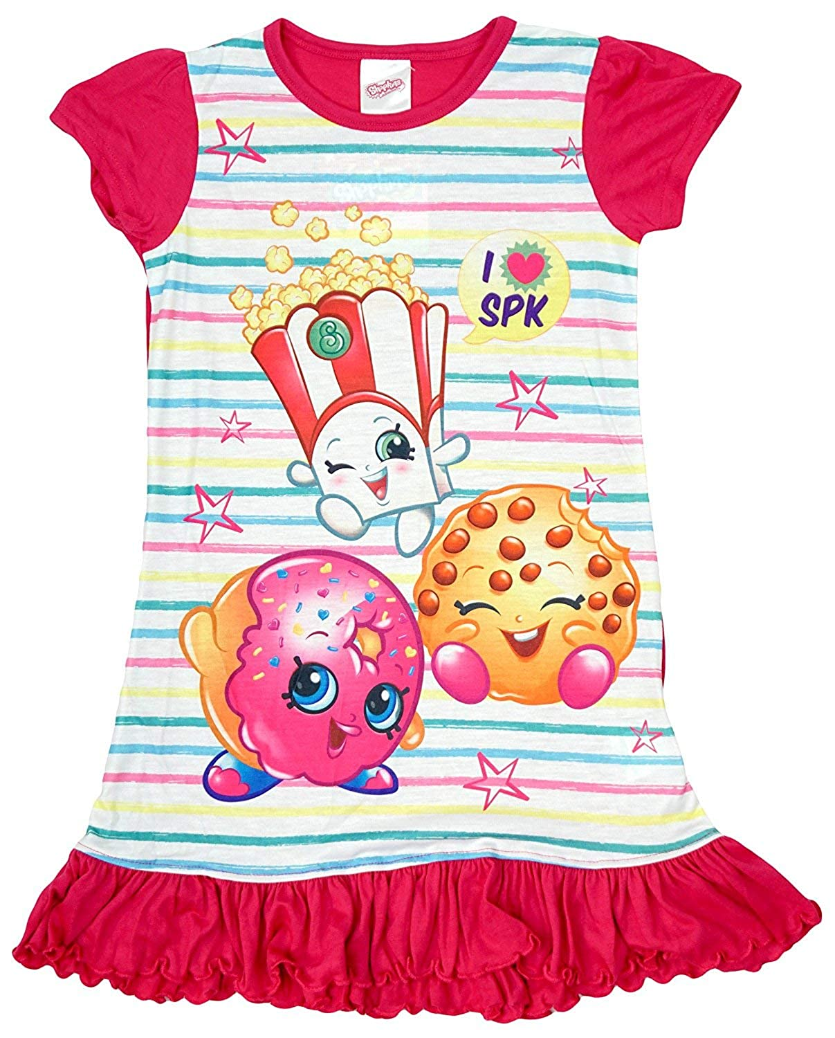 Shopkins Girls Cookie DLish Polly Stripe Frill Nightdress Nightie Sizes from 2 to 8 Years