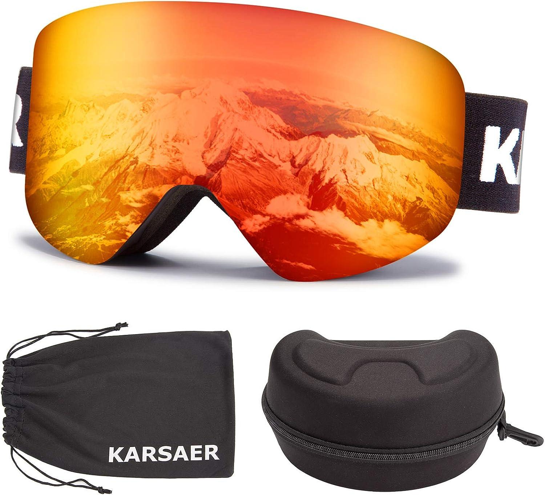 Karsaer Ski Goggles Snowboard Snow Goggle OTG Magnet Lens Anti-Fog UV Protection