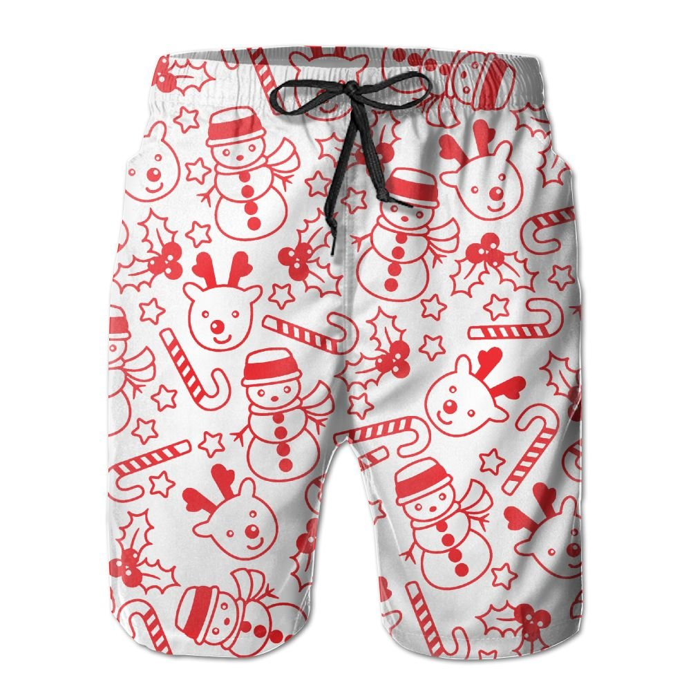 Mens CANDY CANE CHRISTMAS Gift Board Shorts Swim Trunks