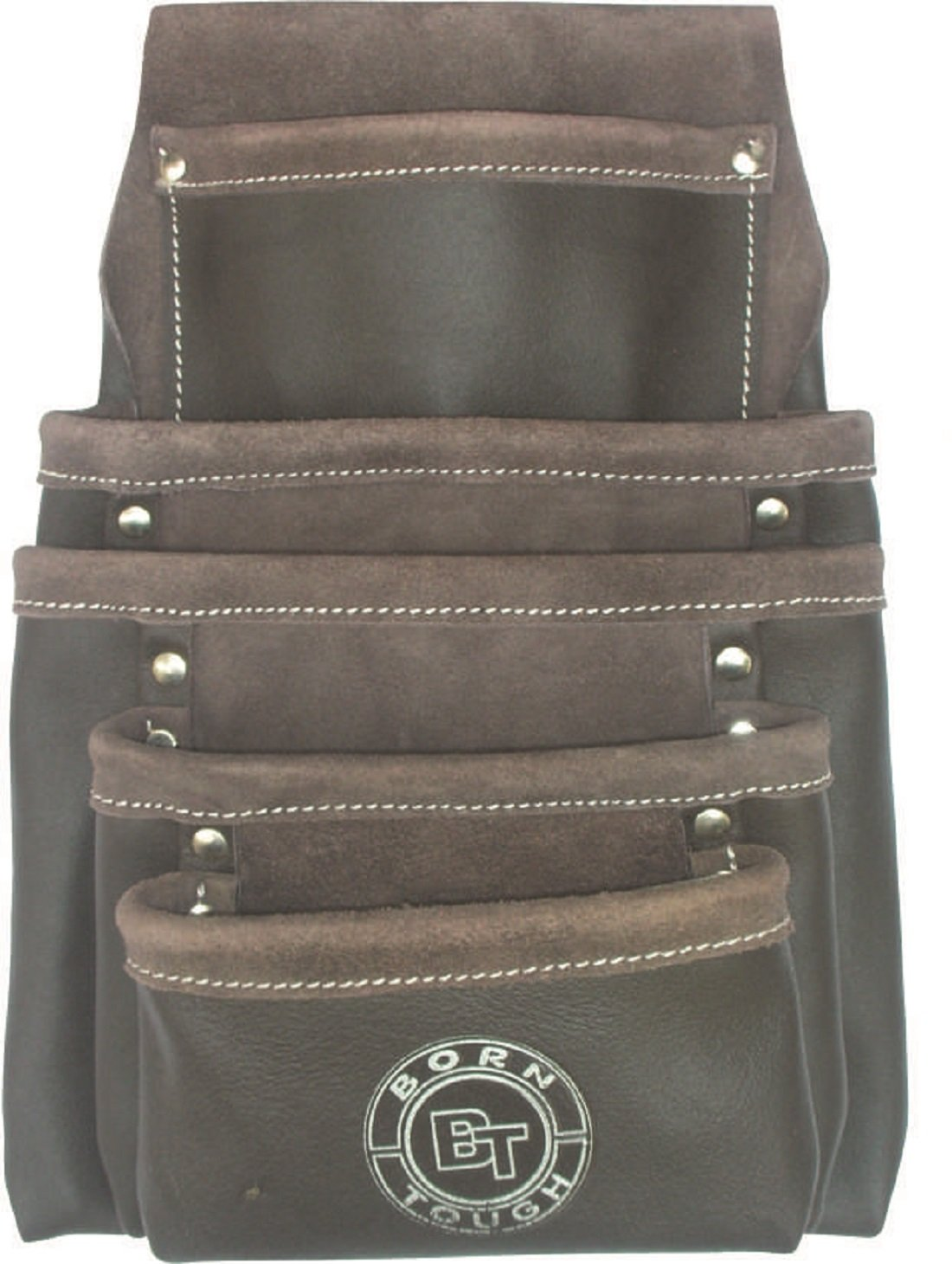 5 Pocket Oil Tanned Leather Nail and Tool Pouch Bag by Born Tough