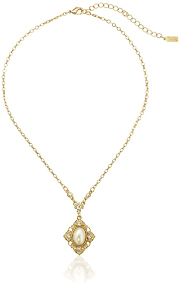 Vintage Style Jewelry, Retro Jewelry Downton Abbey Gold-Tone Pearl Crystal Pendant Necklace 16 $29.00 AT vintagedancer.com