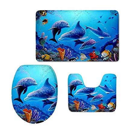 Best Bags Dolphin Bathroom Rug Set, Cute Non Slip Water Absorbing Bath Rugs  Sets