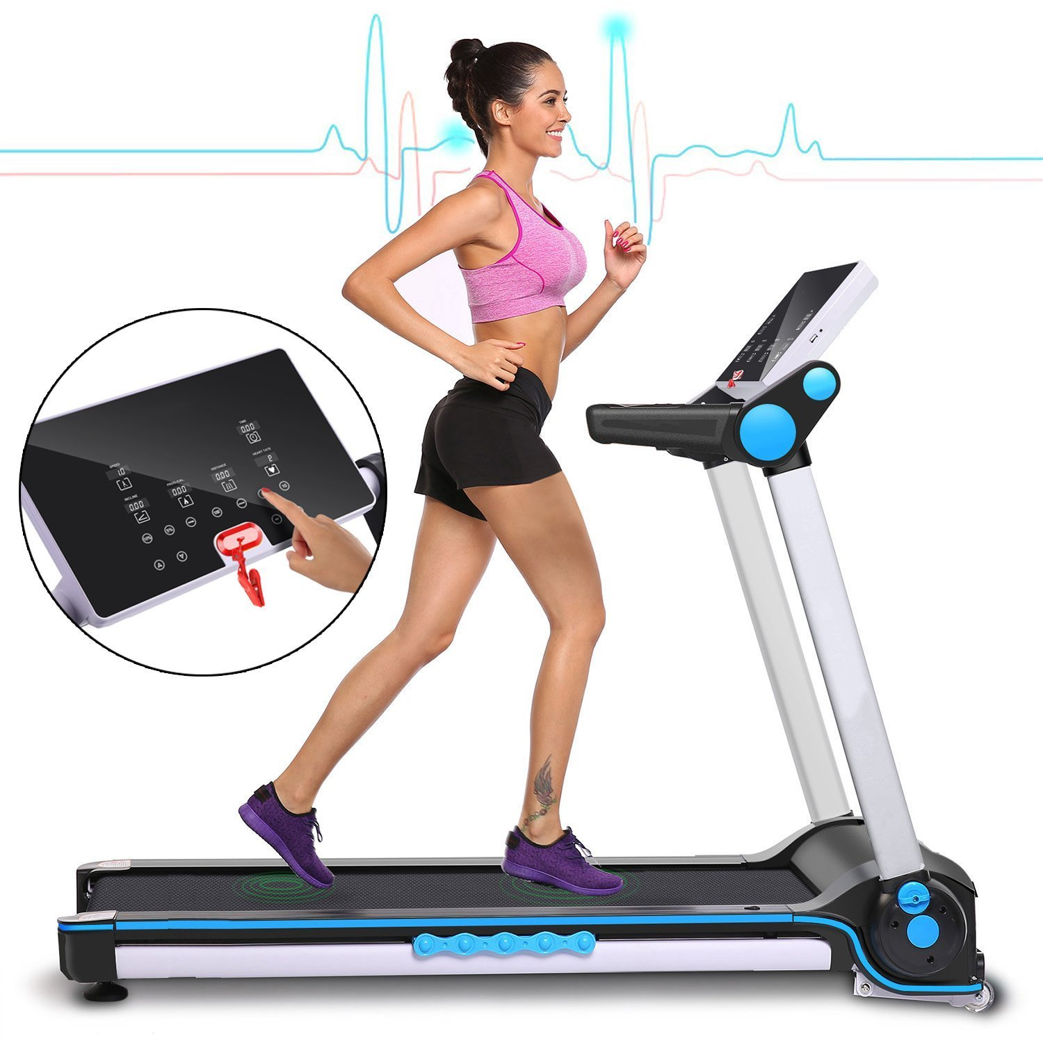 Garain S6400 Folding Electric Treadmill, Bluetooth App Control Touch Screen Exercise Equipment Walking Running Machine Home Fitness Treadmills (US STOCK) by Garain (Image #7)