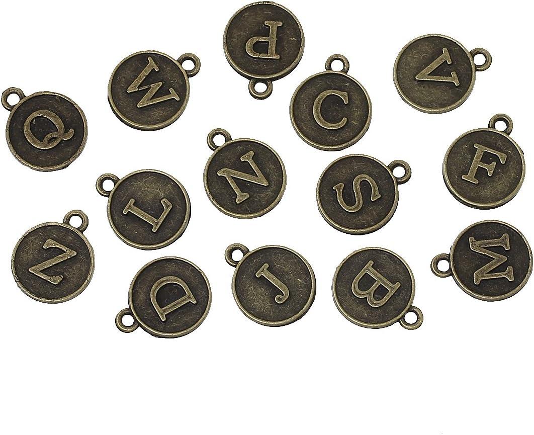 1 x Set of 26 12mm Vintage Bronze Plated A-Z ALPHABET LETTER Charm Pendants
