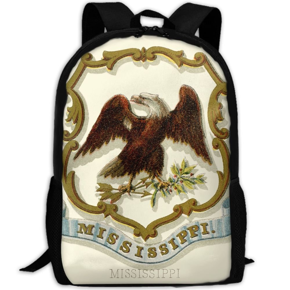 ZQBAAD Mississippi State Coat Of Arms Luxury Print Men And Women's Travel Knapsack