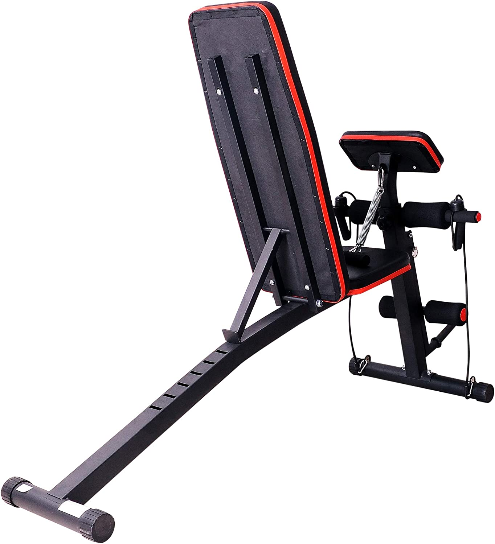 Homcom Banc de Musculation Pliable inclinable réglable 153L x 53l x 102H cm Sangles élastiques + Support haltères Inclus Acier Noir Rouge