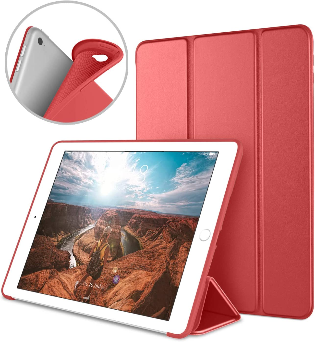 DTTO iPad Air 2 Case (2014 Released), Ultra Slim Lightweight Smart Case Trifold Stand with Flexible Soft TPU Back Cover for Apple iPad Air 2 (Model A1566/A1567), Red