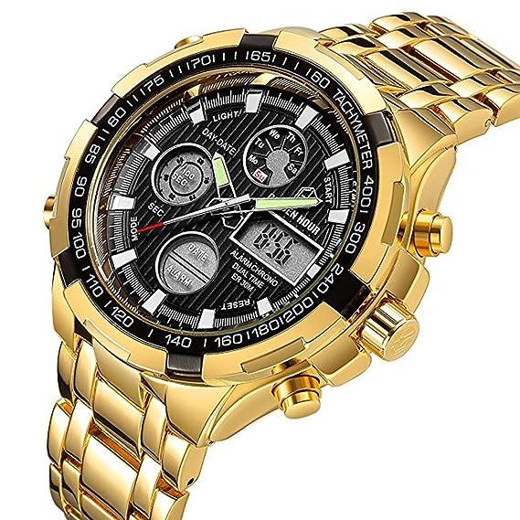 NNNKO Luxury Wrist Mens Relojes Oro Acero Inoxidable Heavy Sport Cronógrafo Impermeable Fecha Alarma Multifunción Analógico Reloj Digital: Amazon.es: ...