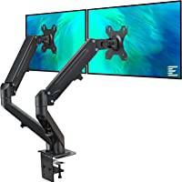 EleTab Dual Arm Monitor Stand - Height Adjustable Gas Spring Monitor Desk Mount with C Clamp Mounting Base for 2…
