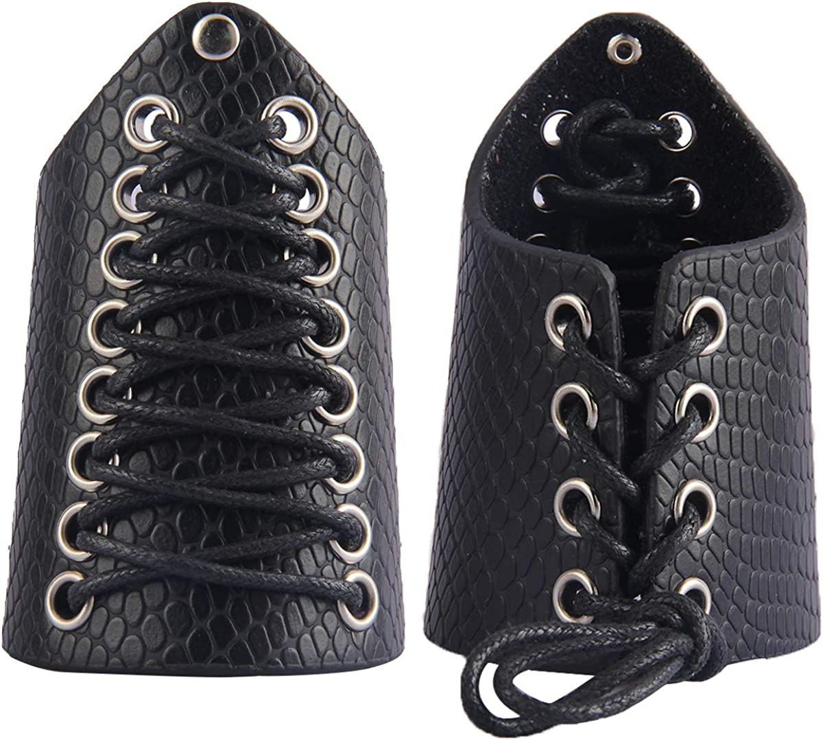 2Pcs Punk Medieval Bracers PU Leather Knight Gauntlet Wristband Wide Brace
