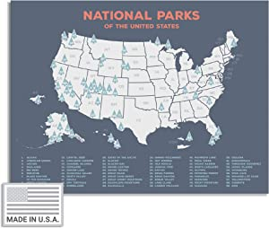 """Kindred Sol Collective USA National Park Map (24"""" x 17"""") - Educational National Park Poster of All 61 US National Parks – US Adventure Map Wall Art Gift - Made in The USA on Heavy-Duty Cardstock"""