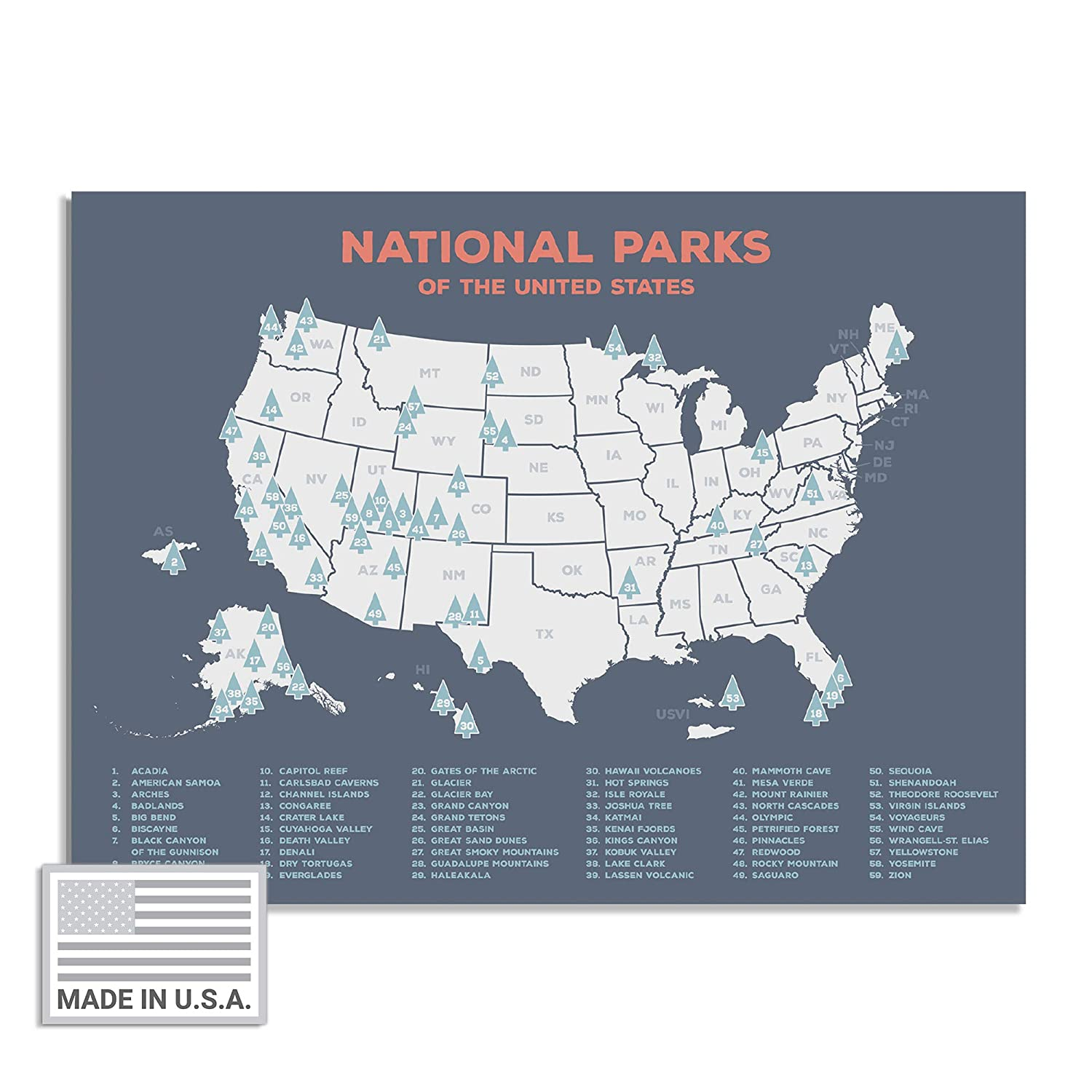 "USA National Park Map (24"" x 17"") - Interactive Educational National Park  Poster of All 59 US National Parks – US Adventure Map Wall Art Gift - Made  ..."