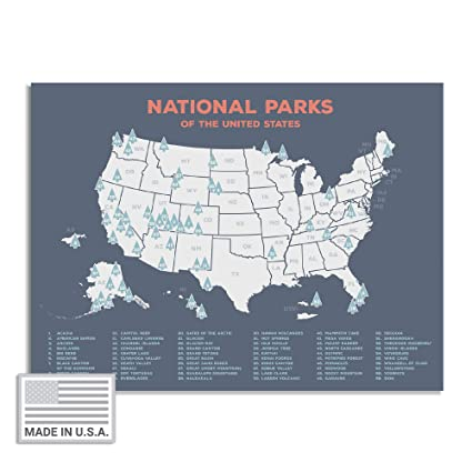 "Amazon.com: Kindred Sol Collective USA National Park Map (24"" x 17 ..."