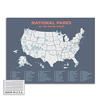 """Kindred Sol Collective USA National Park Map (24"""" x 17"""") - Educational  National Park Poster of All 59 US National Parks – US Adventure Map Wall  Art ..."""