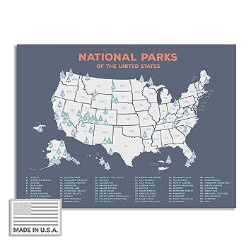"USA National Park Map (24"" x 17"") - Interactive Educational National Park  Poster of All 59 US National Parks – US Adventure Map Wall Art Gift - Made  ..."