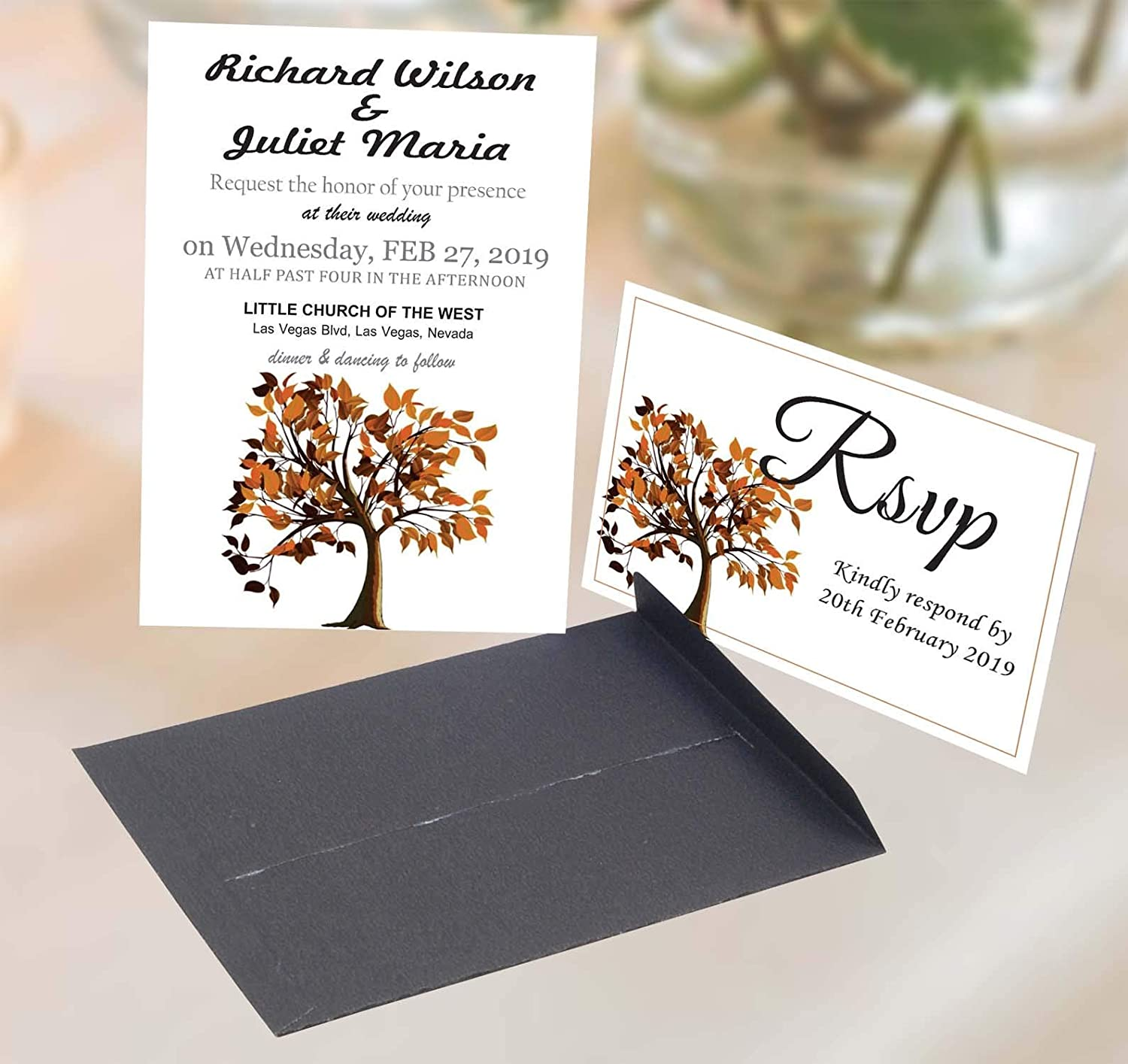 Amazon Com Autumn Wedding Invitations With Envelopes And