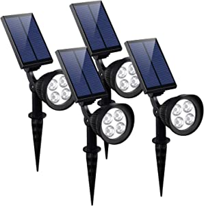 KOMAES Solar Landscape spot Lights Outdoor, Super Brightness Waterproof Solar Lights,Automatic Detection Solar Spotlights with Auto On/Off for Driveway, Pathway, Pool, Garden, Walkways (4 Packs)