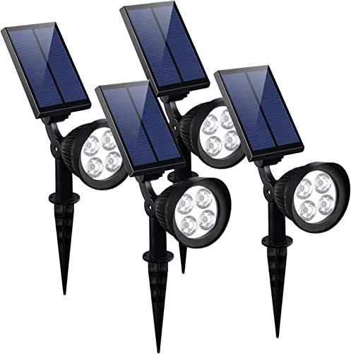KOMAES Solar Landscape spot Lights, Super Brightness Waterproof Solar Lights,Automatic Detection Outdoor Solar spotlights with Auto On Off for Driveway, Pathway, Pool, Garden, Walkways 4 Packs