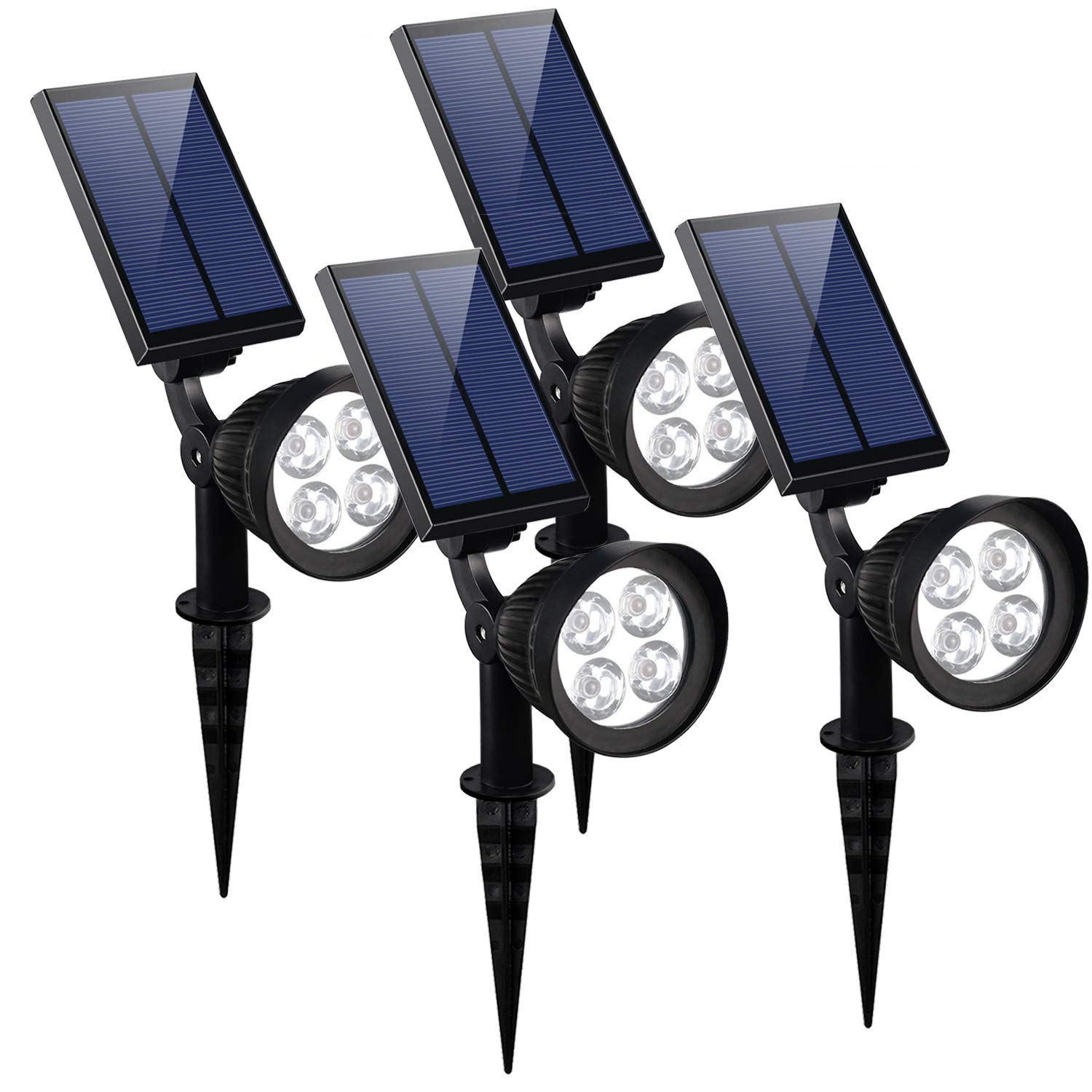 KOMAES Solar Spotlights Outdoor, Waterproof Solar Security Landscape Lights, Adjustable Solar Garden Light with Auto On/Off for Yard Driveway Pathway Pool Patior Garden, Walkways (4 Packs) by KOMAES