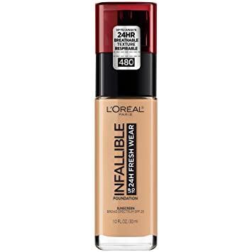 L'oréal Paris Makeup Infallible Up To 24 Hr Fresh Wear Liquid Longwear Foundation, Lightweight, Breathable, Matte Finish, Medium Full... by L'oreal Paris