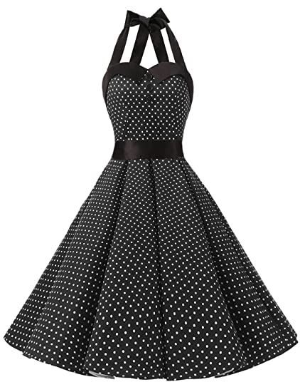 6136c54f8f03 Dressystar Vintage Polka Dot Retro Cocktail Prom Dresses 50's 60's  Rockabilly Bandage Black XS
