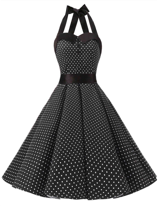 Dressystar Vintage Polka Dot Retro Cocktail Prom Dresses 50's 60's Rockabilly Bandage Black L