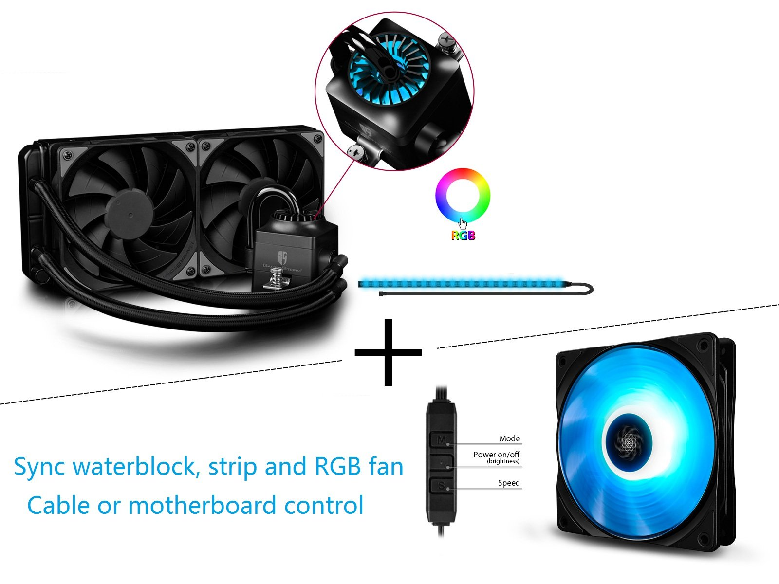 BUNDLING SALE of DEEPCOOL CAPTAIN 240EX RGB and RF120, RGB of Waterblock, Strip and RF120 Fan are Synchronous with Cable Controller or Motherboard Control, AM4 Compatible, 3-year Warranty