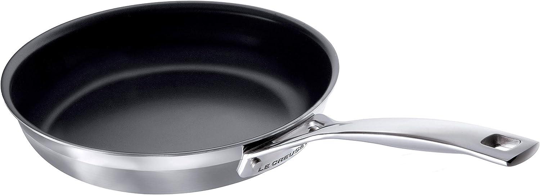 Le Creuset 3-Ply Sartén antiadherente, Ø 24 cm, acero inoxidable, libre de PFOA, para todo tipo de fuentes de calor (incl. inducción), metálico