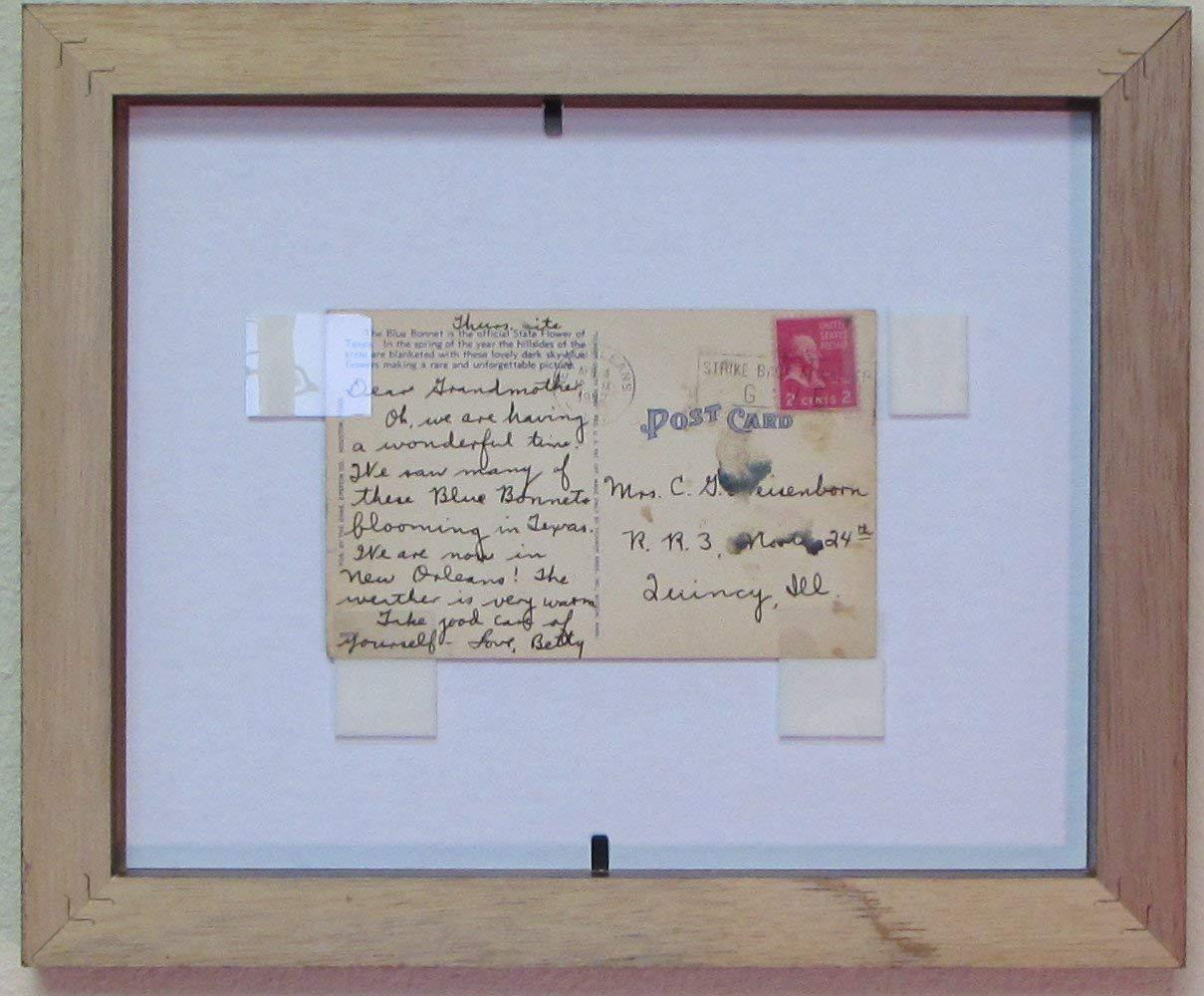 Postcard Frame Set for 3.5'' X 5.5'' Postcard Walnut Frame Tan (Black Trim) Matting