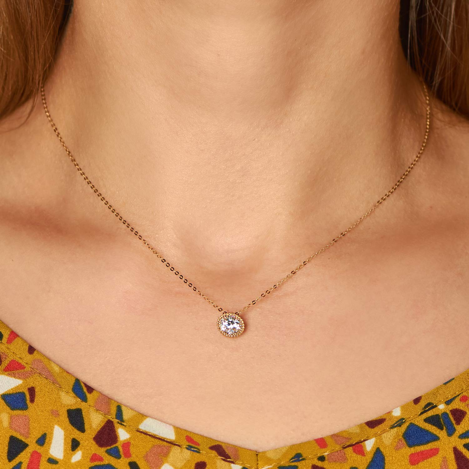 Olivias Collection 14kt Yellow Gold Solitare Multi Shape Pendant Necklace with 16 inch Chain