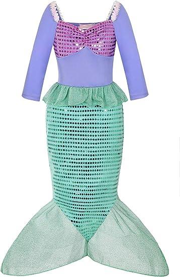 Amazon.com: Aliziway Disfraz de princesa de sirena para niña ...