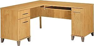 Bush Furniture Somerset 60W L Shaped Desk in Maple Cross