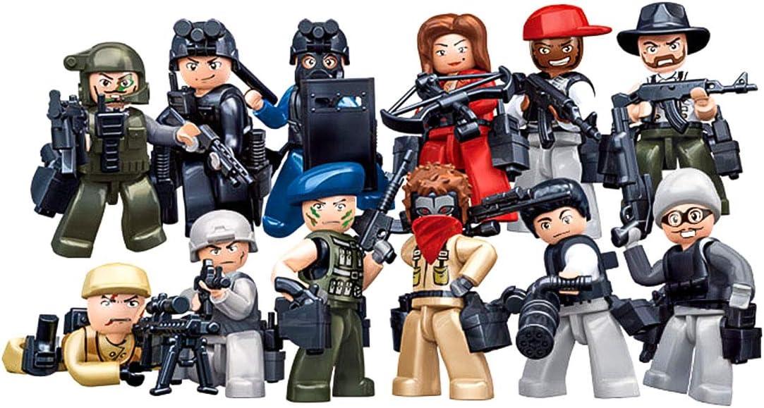 MAJOZ Conjunto de Minifiguras y Arma,12 Policías y Mafiosos + 103 Armas. Personalizado Bloque de construcción para Niños y Adultos: Amazon.es: Juguetes y juegos
