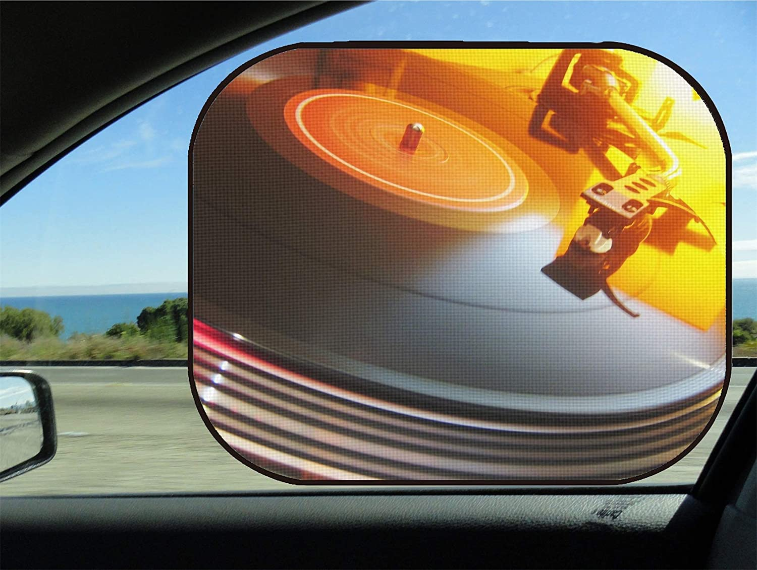 MSD Car Sun Shade for Side Window UV Protector for Baby and Pet Block Sunlight Image of Vinyl Music Record Turntable Disco Sound Retro Audio disc Player Black Vintage dj Party Needle