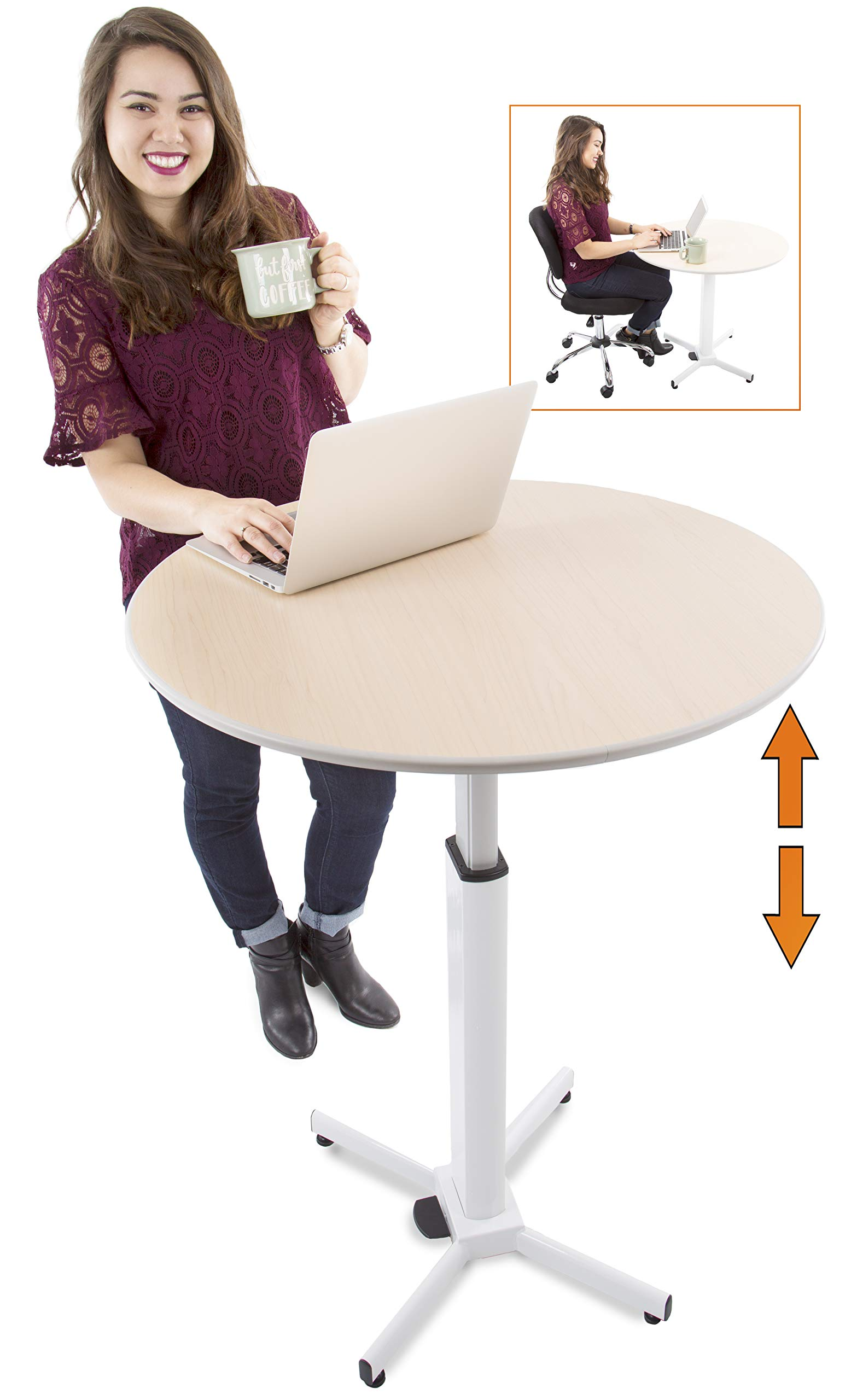 Adjustable Height Multifunctional Round Table - Perfect use for Cocktail Table, Sit to Stand Desk, Side Table - and More! by Stand Steady