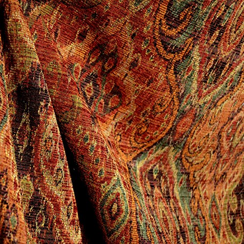 - Rust Orange Tapestry Damask Upholstery Fabric M9842