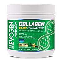 Evogen Collagen Plus Hydration | Grass Fed Type 1 & 2 Collagen, Aquamin, Vitamin C, Coconut Water Extract, MCT | Natural Vanilla