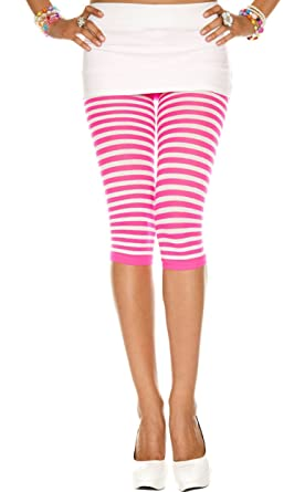 Womens Striped White Leggings, Pink, One Size (Manufacturer Size:Small/Large 34-40) Music Legs
