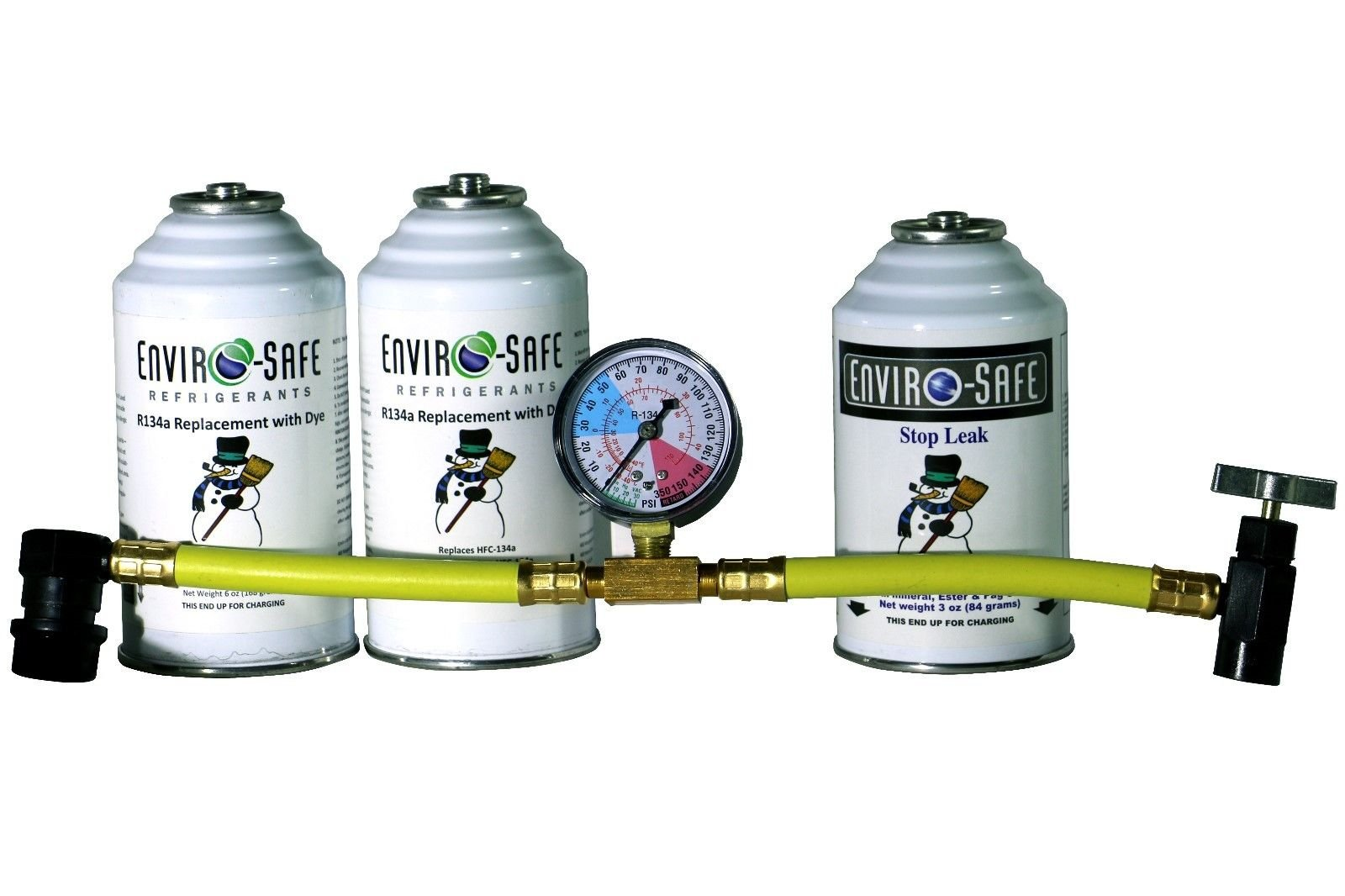 Enviro-Safe 1 Stop Leak and 2 R134a Replacement with Dye Kit with R134 Tap Gauge #RSG-4