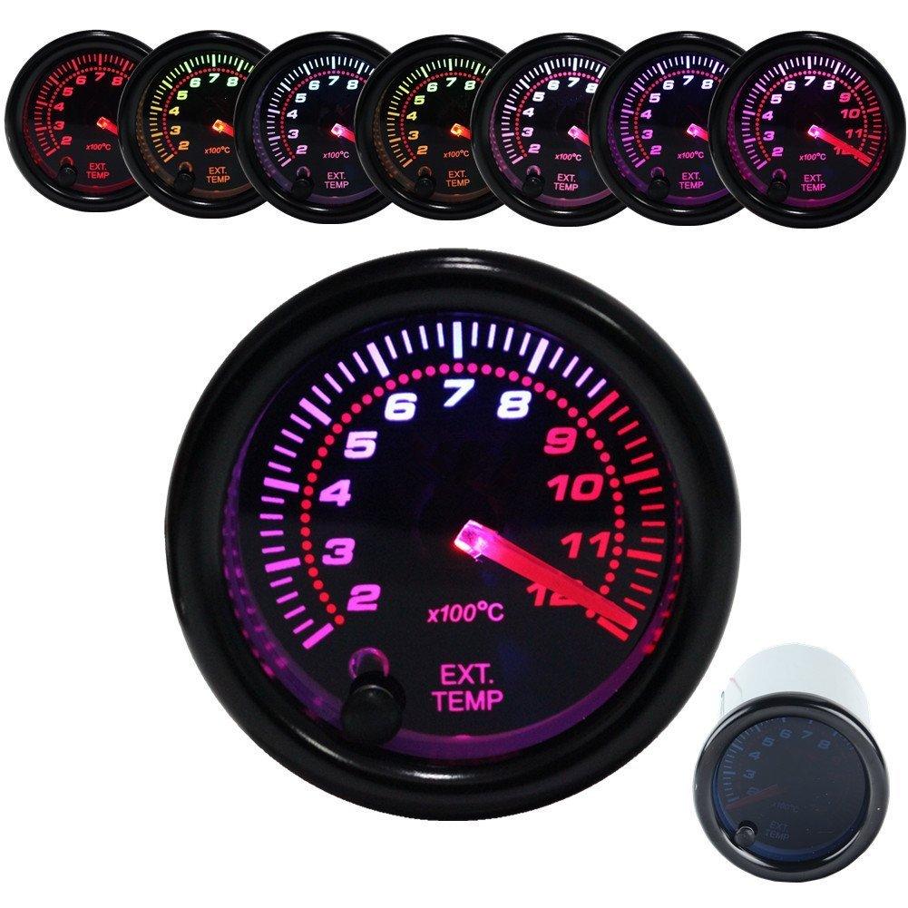 Dewhel Exhaust Gas Temperature Gauge EGT Meter Smoke Universal 7-Colors LED 52mm 12V 200 - 1200 Celsius W/ Sensor