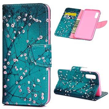 MUSESHOP Funda Samsung Galaxy A50, Pintado Carcasa Libro de Cuero con Tapa y Cartera, Carcasa PU Leather con TPU Silicona Case Interna Suave -Kapok