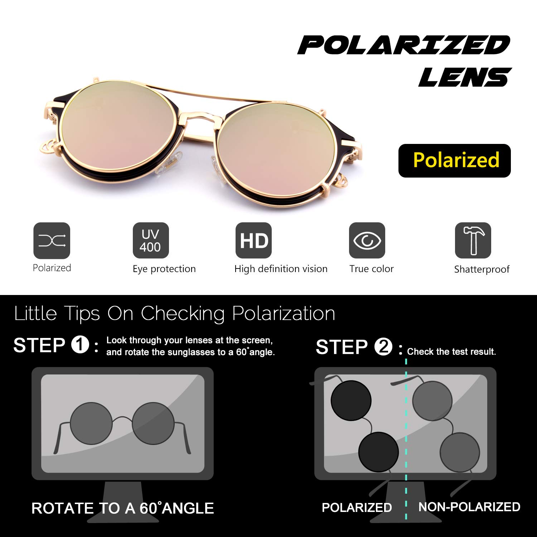 CGID Gafas de Sol Polarizadas Sin Patillas (clip-on) Steampunk Metal Retro Lente Doble UV400 Vintage Lentes de Forma Redonda Hombres y Mujeres: Amazon.es: ...