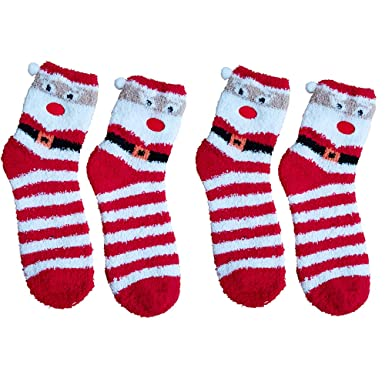 a0c0f9c89bf Christmas Novelty Socks - Fluffy Santa Design - Adult Unisex   Warm - Stocking  Filler (