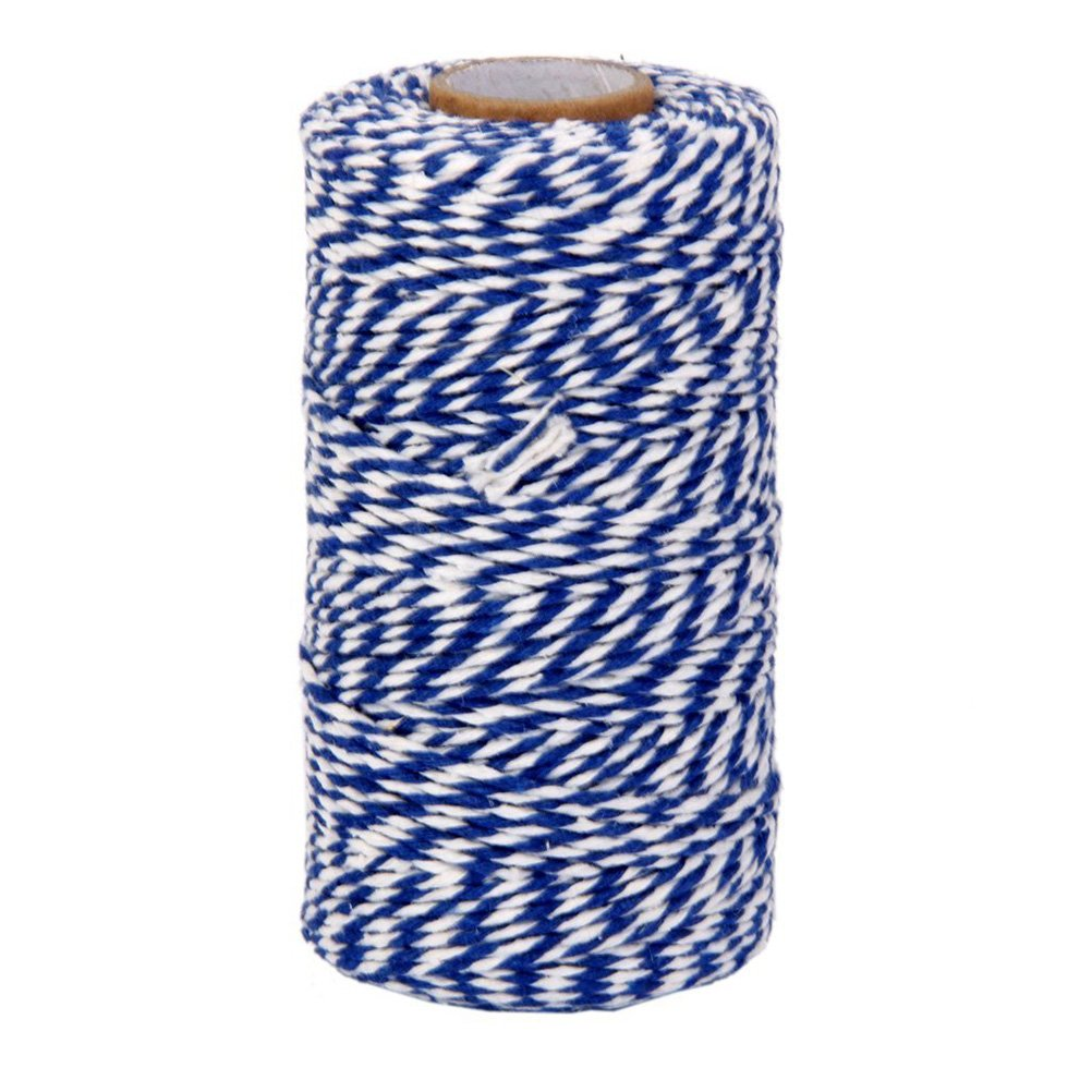 ROSENICE Natural Cotton Twine String Bakers Twine 100M Navy Blue White