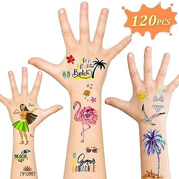 Luau Party Supplies,Temporary Tattoos Hawaiian Party Decorations,120pcs  Tattoos Summer Beach