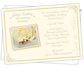 Personalised golden wedding 50th anniversary invitations design personalised golden wedding 50th anniversary invitations design code gwa 005 pack of stopboris Gallery