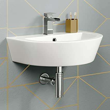 Bathroom Sink.Modern Curved Ceramic Basin Wall Hung Cloakroom Bathroom Sink